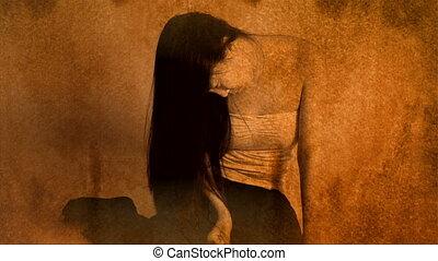 aziatische vrouw, monster, in, muur
