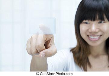 aziatische vrouwen, op, aanraakscherm