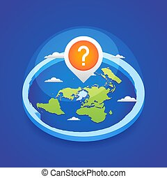 Azimuthal projection flat land 3d icon with question mark