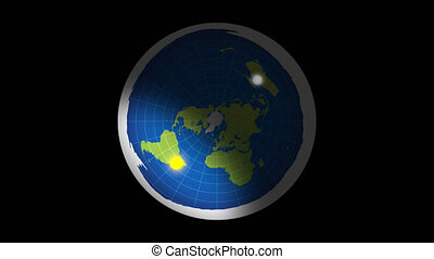 Azimuthal projection flat land rotation sun and moon. Alpha channel.