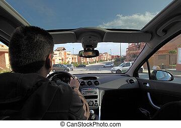 azionamento uomo, uno, automobile, dentro, vista