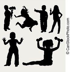 azione, bambini, silhouette