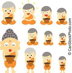 azione, carino, monaco, cartone animato