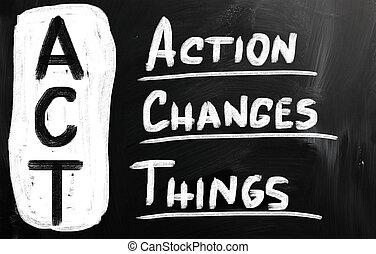 azione, changes, cose