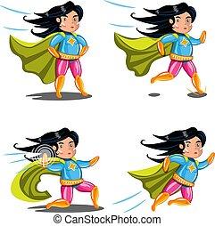 azione, collection., pose, superhero, femmina