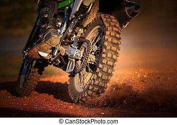 azione, di, enduro, motocicletta, su, pista terra