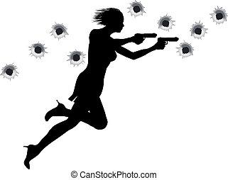 azione, eroe, sparare, fuori, donna