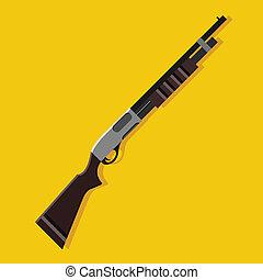 azione, fucile caccia, pompa, vettore, icona