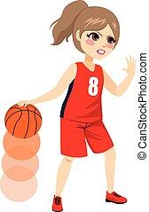 azione, giocatore, pallacanestro, femmina