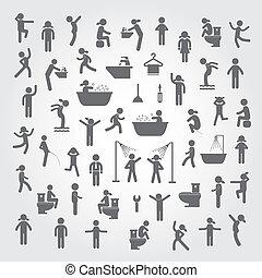 azione, igiene, set, persone, icone