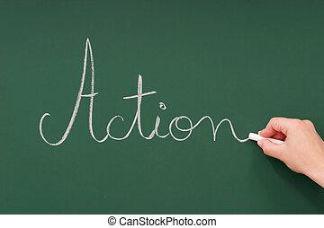 azione, lavagna, scritto