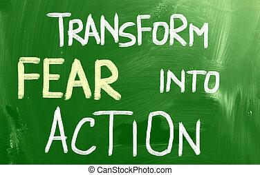 azione, paura, concetto, trasformare