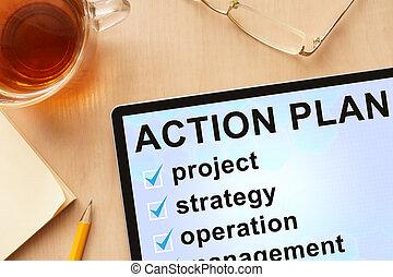 azione, plan., tavoletta, parole