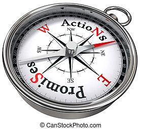 azione, promesse, concetto, vs, bussola