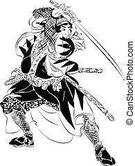 azione, samurai, illustrazione