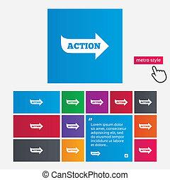 azione, segno, icon., motivazione, bottone, con, arrow.