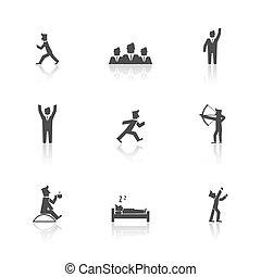 azione, set, uomo, icone