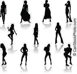azione, sexy, ragazza, vettore, silhouette