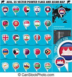 azja, mapa, i, bandery, wskazówka, ikony, set2