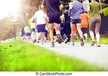 azonosítatlan, maratoni futás, versenyfutók, futás
