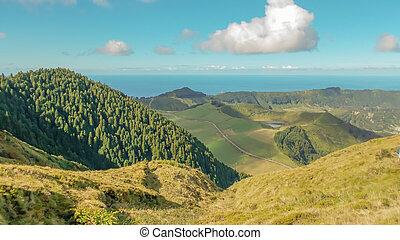 azorerna, grönt landskap