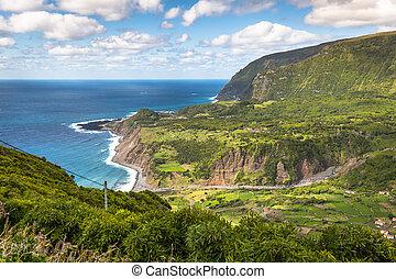 Azores coastline landscape in Faja Grande, Flores island. Portugal.