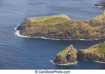 Azores coastline landscape with cliffs in Flores island. Portugal