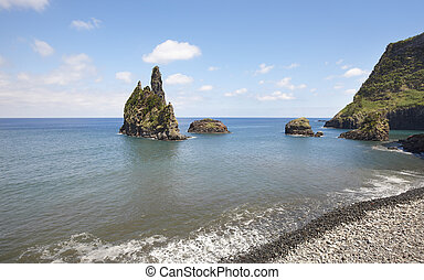 Azores coastline landscape with pebble beach in Flores island. Portugal