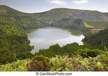 Azores landscape with lake in Flores island. Caldeira Funda. Portugal