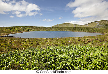 Azores landscape with lake in Flores island. Caldeira Rasa. ...