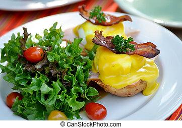 azotemia, prosciutto, pancetta affumicata, o, uovo, benedetto
