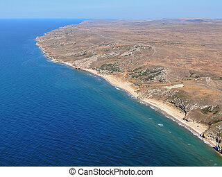 Azov sea lagoon coastline aerial lanscape view