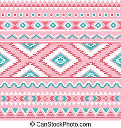 aztèque, seamless, tribal, rose, modèle