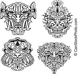 aztèque, totem, masques, monstre