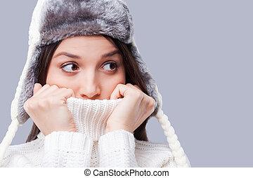 azt, van, így, cold., fagyasztott, young women, megtesz arc,...