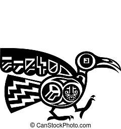 An original abstract bird based on Aztec or Mayan design