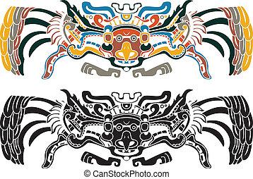 Aztec bird stencil in two variants