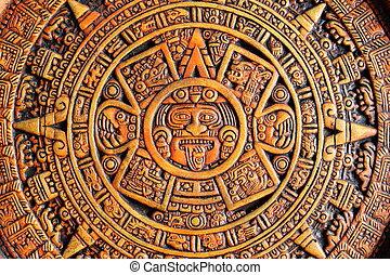 Aztec calendar - A close up view of a aztec calendar