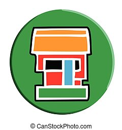Aztec Calli (House) Button - Simple Aztec Calendar icon for...