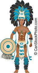 Vector Illustration of an Aztec man in Costume for Carnival Halloween or Thanksgiving.