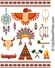 Aztec and Mayan Indian decorative vector elements