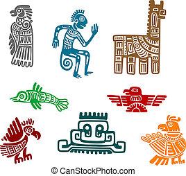 aztec, en, maya, oude tekening, kunst