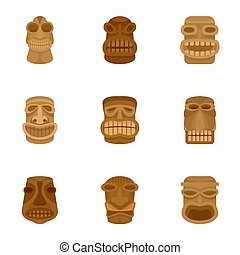 Aztec idol icon set, flat style