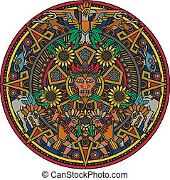 Aztec Mandala - Colorful art based on the aztec calendar
