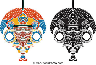 Aztec mask, stencil in two variants