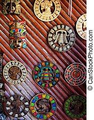 aztec mayan calendar wooden handcrafts Mexico