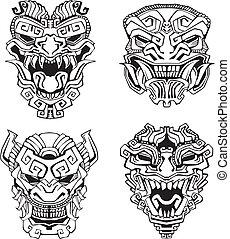 Aztec monster totem masks. Set of black and white vector...