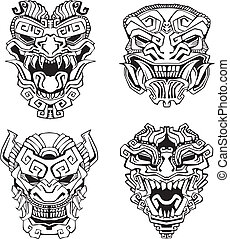 Aztec monster totem masks. Set of black and white vector illustrations.