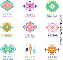 Aztec or apache motif style logo set. Native mexican labels isolated on white background