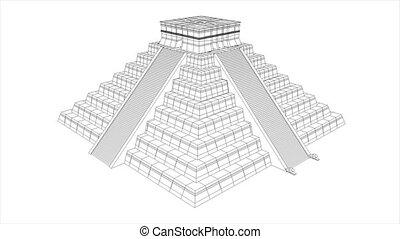 Aztec pyramid - Mesoamerican/ Aztec/ Maya pyramid, wireframe...